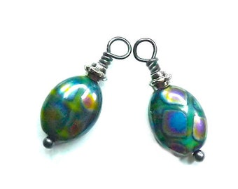 Green Iridescent Vitrail Charm Dangle Hand Wire Wrapped Drop (2, or 4)