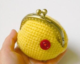 Yellow crochet coin purse, bronze metal frame coin purse, kiss lock crochet coin purse.