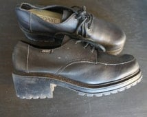 Vintage Leather Esprit Chunky Heels Booties