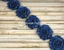 Denim Shabby Chic Chiffon Flowers - One or Half Yard Wholesale Lot Frayed Vintage Rosettes
