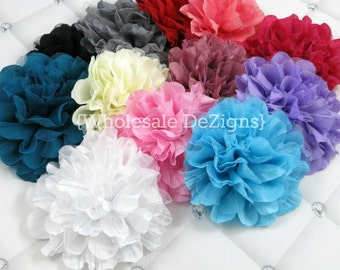 """Chiffon and Tulle Flower - 4.5"""" - Crinkle Flowers - DIY Flowers - Wholesale Flowers - Large Flowers"""