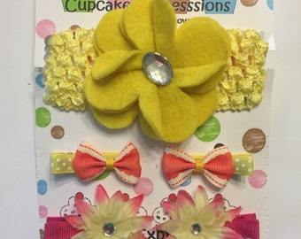Adorable Handmade Girl's Hair Clip and Headband Set - Flowers and Bows - Headband and Matching Hair Clips - Pink and Yellow