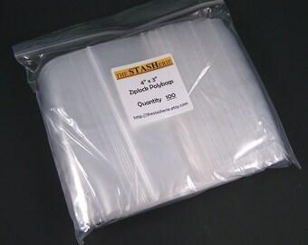"Recloseable Poly Bag - 1000 4"" x 3"" Clear Plastic Ziplock bags - wholesale Bulk Listing"