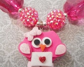 Pink Be My Valentine Owl Clay with Gumball and Bling Beads Necklace