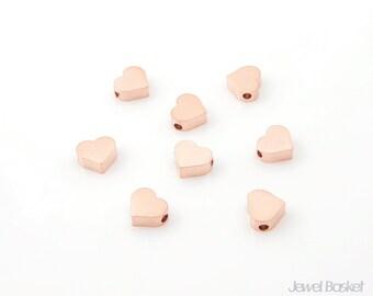 Metallic Heart Bead - Matte Rose Gold Heart / 6mm x 7mm / PMRG002-B (8pcs)