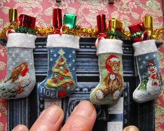 SALE!!!KIT to make 4 x 1:12 scale Dolls house miniature Christmas Stockings