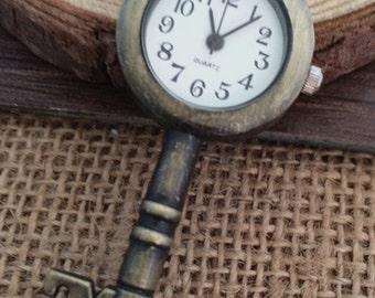 1pcs 55mmx25mm bronze Key  pocket watch charms pendant