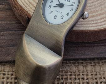 1Pcs 21x61mm antique bronze shoes pocket watch charms pendant