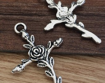 20pieces  35mmx24mm  Rose Cross charm   -  antique Silver charm pendant  Jewelry Findings