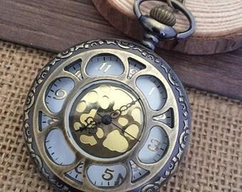 1pcs 45mmx45mm Bronze Flower pocket watch charms pendant PW059