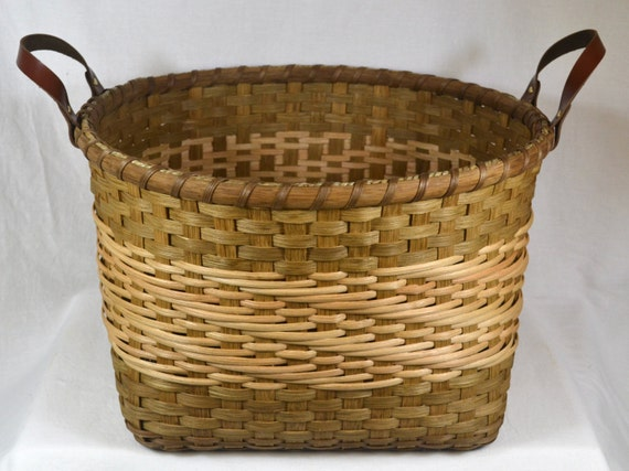 Knitting Basket With Handles : Items similar to hand woven storage basket with handles