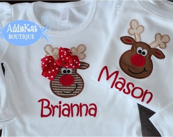 Personalized Coordinating Sibling Christmas Shirts - Reindeer