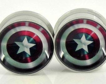 Captain America Shield Image Plugs - 18g,0g,00g,7/16,1/2, 9/16, 5/8,11/16,3/4,7/8