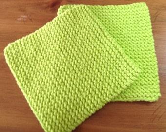 Hand Knit Pot Holders - set of 2 - Hot Green