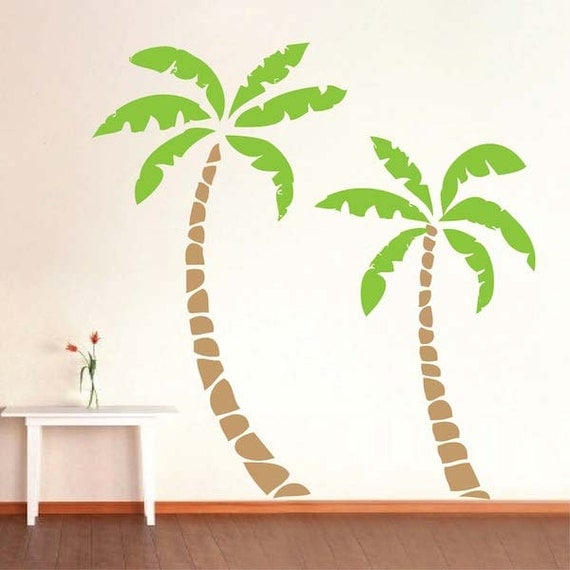 palm tree decals palm tree wall sticker by trendywalldesigns. Black Bedroom Furniture Sets. Home Design Ideas