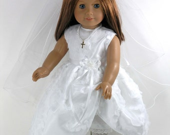 Handmade Doll Clothes for American Girl - First Communion Dress, Cross Necklace, Veil, Pantalettes - Petals Netting, Satin - Shoes Option