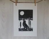 Romancing The Moon linocut