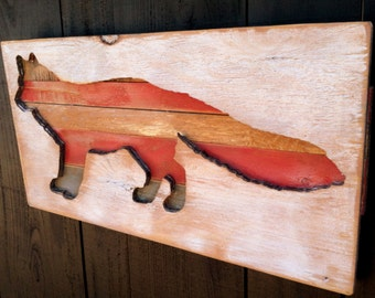 Large Wooden FOX Plaque - Rustic Distressed Wood Cabin Sign