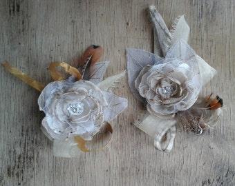 Rustic Wedding Flower Wrist Corsage  Boho Bridal Flower Corsage  Bridesmaid Wrist Corsage Flower Girl Prom Corsage