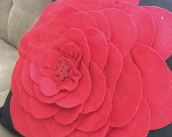 Red Black Pillow Decorative Throw Cover, Felt Rose, Daisy Button