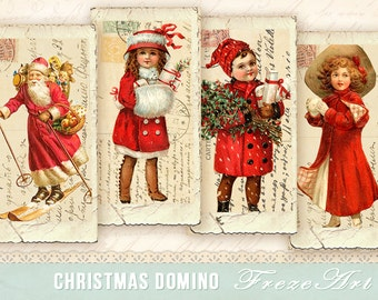 Christmas domino Vintage domino images 1x2 inch on Digital collage sheet Printable download
