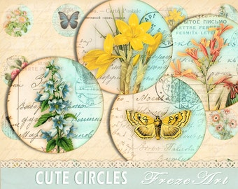 Digital Collage Sheet 1 inch Digital circles Instant Download Vintage images circles flowers for Magnets or Scrapbooking -  CUTE CIRCLES