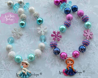 Elsa Chunky Necklace Anna Elsa Bubblegum Necklace fairy Frozen Necklace Snowflake bubblegum necklace Princess Chunky Bubblegum Necklace