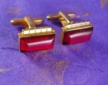 Hickok cufflinks RED Jeweled Art Deco Cuff Links Kaflinks Designer Sleeve Jewelry Gentleman Tuxedo