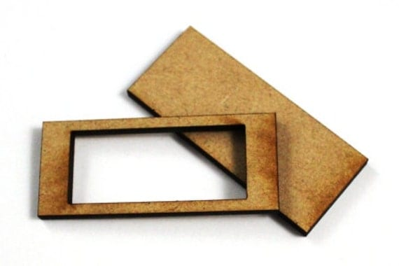 1 Large Craft Wood Bezel Rectangle Frames, 250 mm Wide, lasercut wood