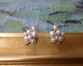 HOLD Majorica Simulated Pearl Cluster Clip Earrings