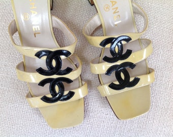 Vintage CHANEL Yellow CC Logo Sandals