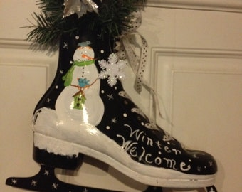 Winter Welcome Hand Painted Ice Skate