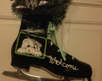 Welcome Hand Painted Ice Skate Bear