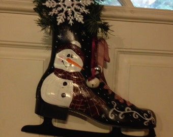 Cute Snowman Hand Painted Ice Skate Decoration