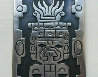 GIGANTIC Vintage Oxidised Double-Sided Sterling Mayan Inca Aztec Pendant - Pre-Dates Taxco Assay Office Very Collectible