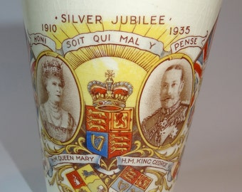 Commemorative Royal Minton King George V and Mary Silver Jubilee Beaker