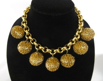 Glam Rock Gold Disco Ball Sequin and Bead Chain Necklace