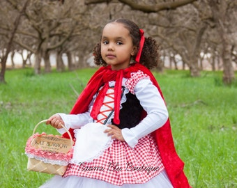 Little Red Riding Hood Basket. Pageant Play Costume Halloween Birthday Little Red Riding Hood Dress Apron and Hood Sold Separately