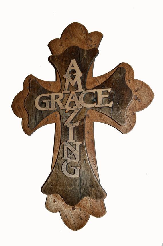 Amazing Grace Decorative Rustic Wall Cross 15 Inch Tall