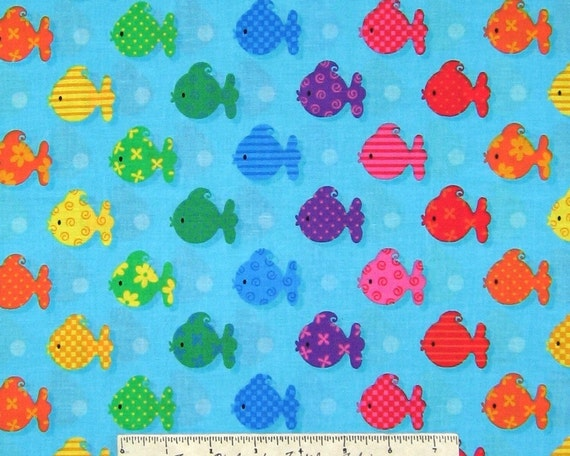 Rainbow fish fabric patty reed last yard by fabricfrantic for Rainbow fish fabric