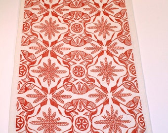 "Hand block printed table runner on linen by Julia Garrison ""Persephone"" 56"""