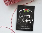 Christmas Tags Printable Personalized Chalkboard Holiday Tags Christmas Gift Tags Holiday Labels Stickers Christmas Label Favor Tags Digital