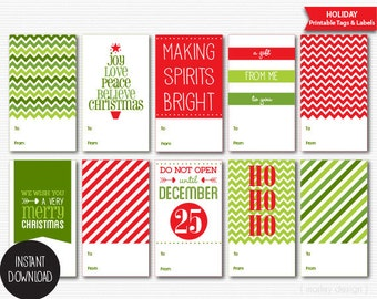 Instant Download Christmas Tags Printable Holiday Labels Packaging Digital Red Green Holiday Tags Christmas Packaging