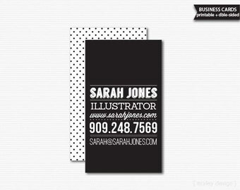Typography Business Cards DIY Printable Choose Your Color Digital File PDF Customized Calling Card Retro Style