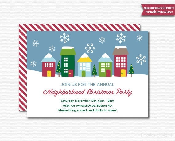 Neighborhood Party Invitation Printable Christmas Open House – Printable Christmas Party Invitation
