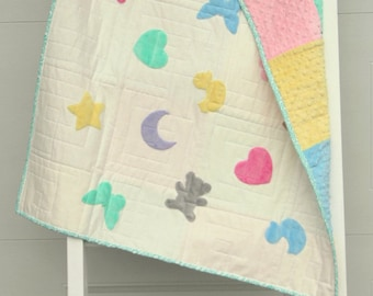 Cookie Cutter baby quilt pattern.  Instand download of this quick and easy baby quilt with minky charm squares and plush minky layer cakes.