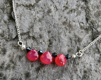 Hot pink chalcedony necklace black Swarovski crystals 3 bead necklace gift ideas for her