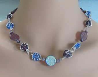 Wire wrapped necklace purple blue frosted beads