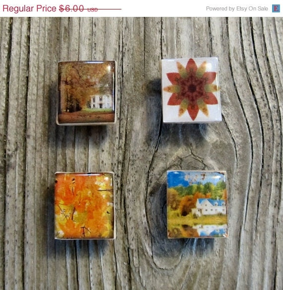 October Sale Fall Leaves Scrabble Magnets Autumn Gift Ideas Home Decor Modern Repurposed