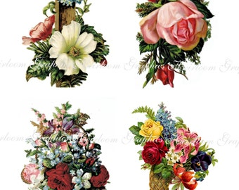 Flower Download Vintage Flowers Download Set of 4 Graphics
